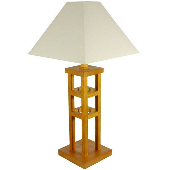 27 Inches Wood Architectural Design Table Lamp