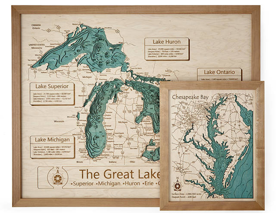 Artistic 3D Wooden Lake Topography Art