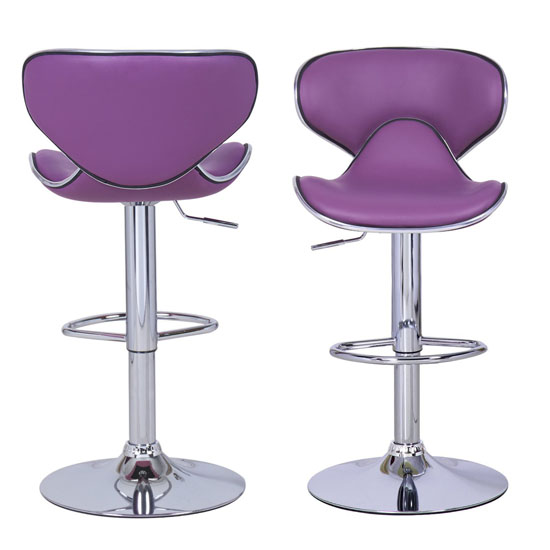 Adeco Purple Cushioned Leatherette Adjustable Barstool Chair