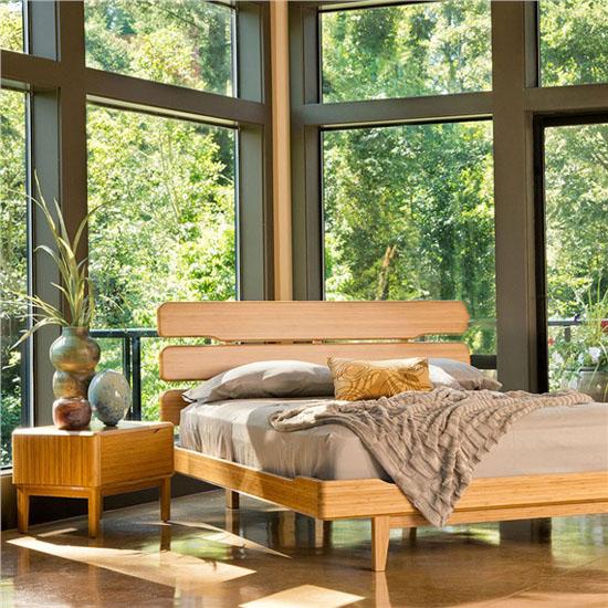 New Bamboo Mid century Modern Nightstand