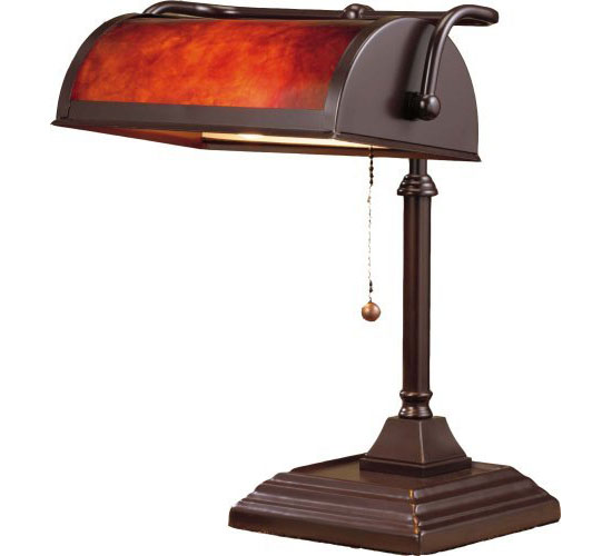 Bankers Lamp with Mica Shade