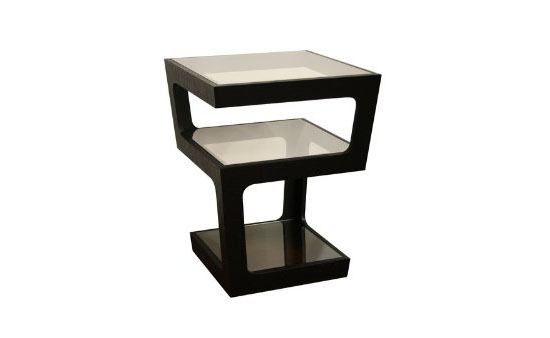 Baxton Studio Clara Black Modern Tall 3-Tiered End Table