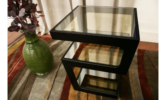 Baxton Studio Clara Black Modern Tall 3-Tiered End Table