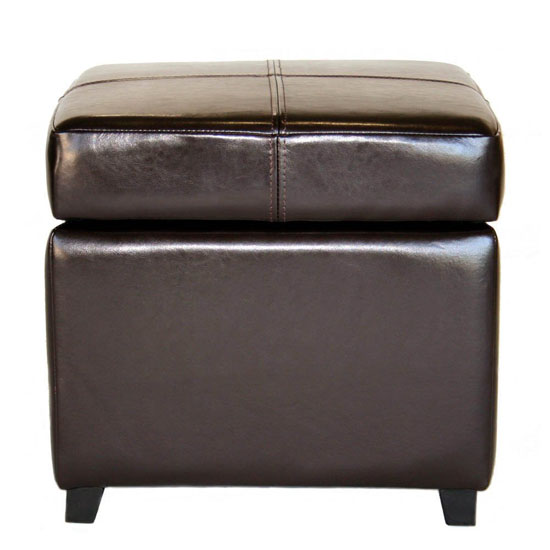 Baxton Studio Pandora Leather Small Storage Ottoman with Wood Feet