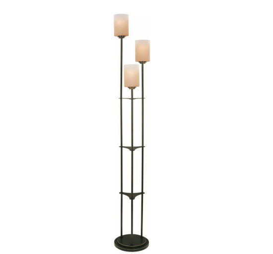 Bess Floor Lamp with Amber Glass Shades