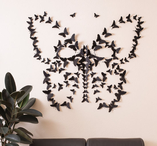 Cool Black D Butterfly Wall Art
