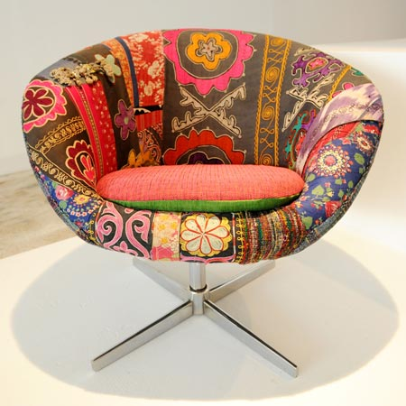 chair in vintage middle eastern fabric