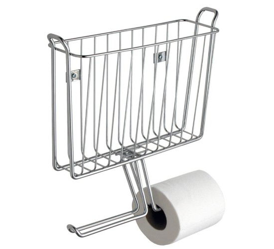 Chrome Toilet Tank Magazine Rack And Tissue Paper Holder