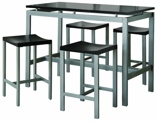 Coaster 5-Piece Metal Dining Set with 4 Barstools