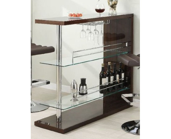 Coaster Home Bar Table with Two Glass Shelves