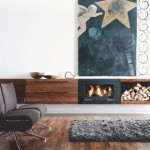 Conmoto Contemporary Fireplace with Firewood Storage