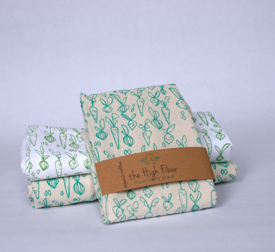 Highly Absorbent and Soft Hand-Printed Kitchen Towels with Flour Sack Style