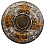 Dark Platinum Hand Painted Ceiling Medallion Features Antique Bronze and Silver Finish