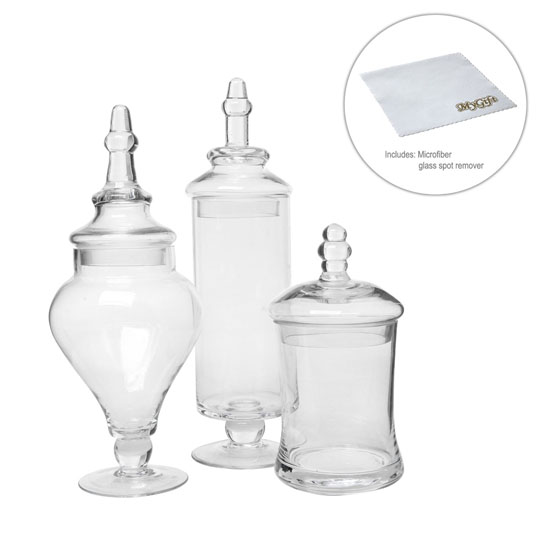 Designer Clear Glass Apothecary Jars