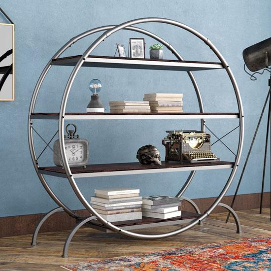 Evon Industrial Etagere Bookcase