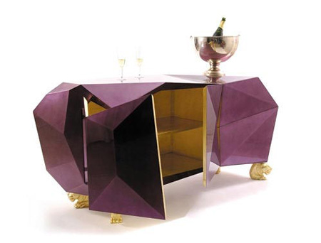 faceted purple credenza
