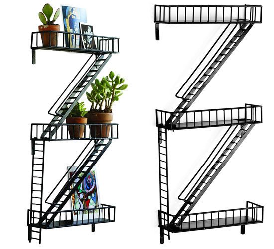 Fire Escape Shelf Decor