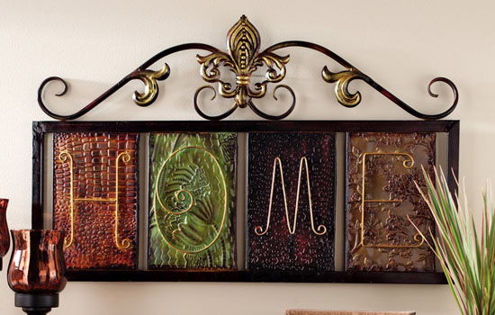 Fleur-De-Lis Home Metal Wall Plaque Art