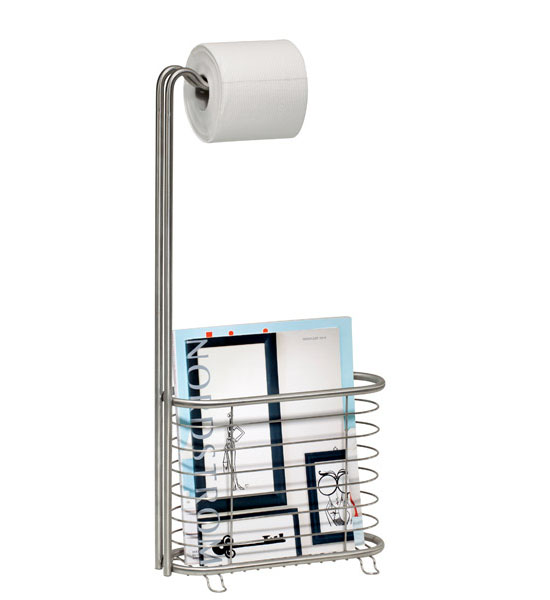 Forma Stainless Steel Magazine Rack and Tissue Stand