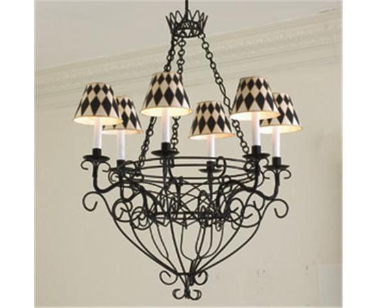 French Wire Basket Chandelier