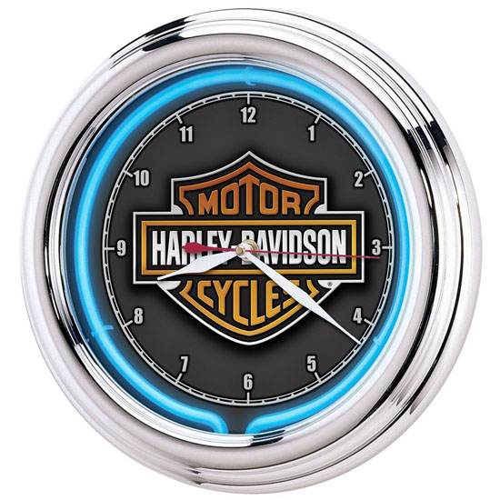 Harley Davidson Essential Bar and Shield Neon Clock