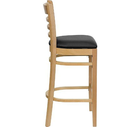 HERCULES Series Natural Wood Finished Ladder Back Wooden Restaurant Bar Stool