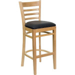 HERCULES Series Natural Wood Finished Ladder Back Wooden Restaurant Bar Stool Is Perfect For Your Mini Bar Or Kitchen Counter