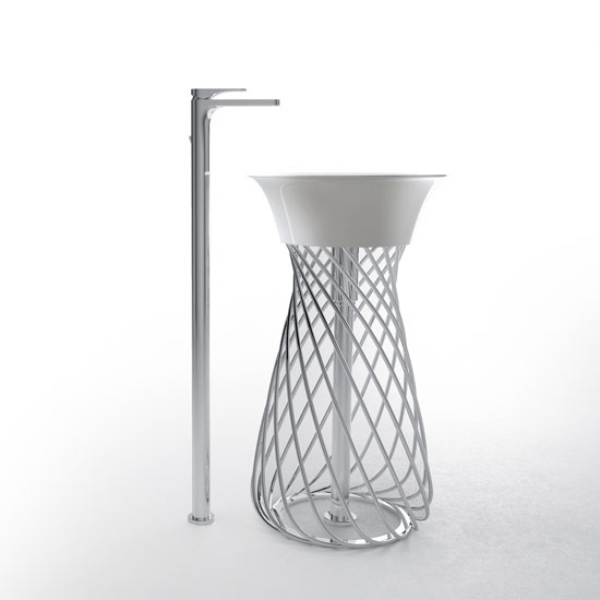 Wire Freestanding Washabsin by Meneghello Paolelli Associati for Hidra Ceramica