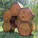 Unique Honeycomb Dresser Features Six Hexagon Cubbies with Five Drawers