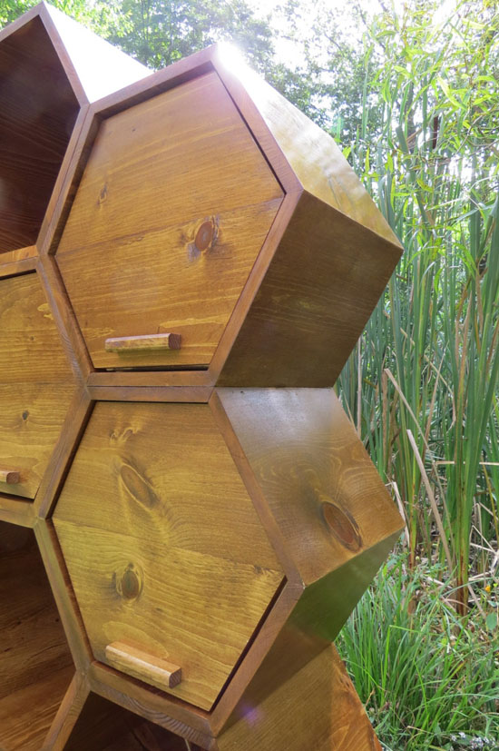 Honeycomb Dresser - Six Hexagon Cubbies with Five Drawers