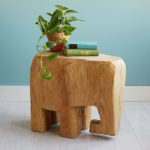 Horton Elephant Shaped Side Table Is Hand-Carved by Laotian Artisans