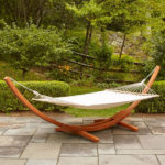Bay Isle Home Kouklia Double Hanging Chaise Lounger with Large Wood Frame Stand