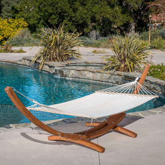 Kouklia Double Hanging Chaise Lounger with Stand from Bay Isle Home