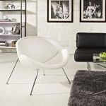 Sit With A Luxurious Feel With LexMod Nutshell Mid-Century Style Lounge Chair In White Vinyl