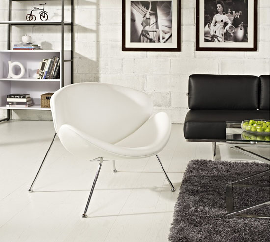 LexMod Nutshell Mid-Century Style Lounge Chair In White Vinyl