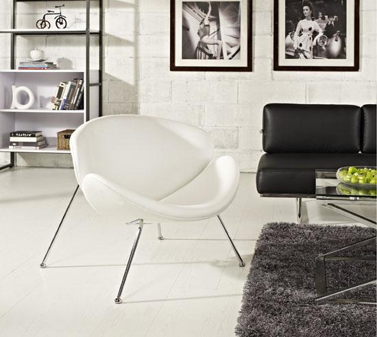 LexMod Nutshell Mid-Century Style Lounge Chair In White Vinyl