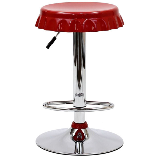 LexMod Soda Bottle Bar Stool in Red
