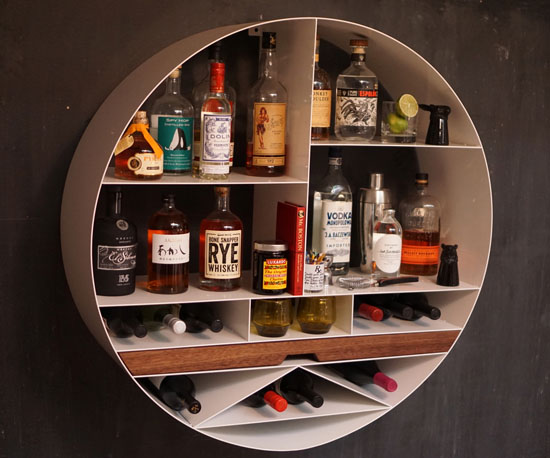 Wonderful Libation Station : Round Home Bar Storage Solution From Sean Woolsey