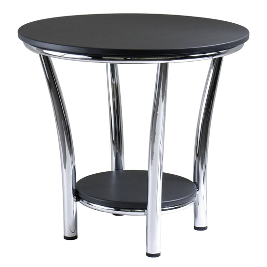 Maya Round Tables with Black Top and Metal Legs