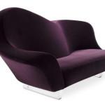 Aubergine Lavender Colored Sofa from MDF Italia