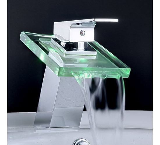 Bathroom Sinks And Faucets : ... Modern Single Handle Waterfall Bathroom Vanity Vessel Sink LED Faucet