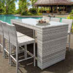 New Haven Bar Table Set Features 7-Piece of Modern Outdoor Wicker Furniture