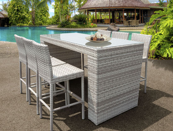 Epic New Haven Bar Table Set Features Piece of Modern Outdoor Wicker Furniture