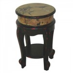 Oriental Furniture Asian Furniture and Decor 18-Inch Ming Design Golden Flower Stool Drink Stand End Table Will Create An Asian Feel To Your Home Interior