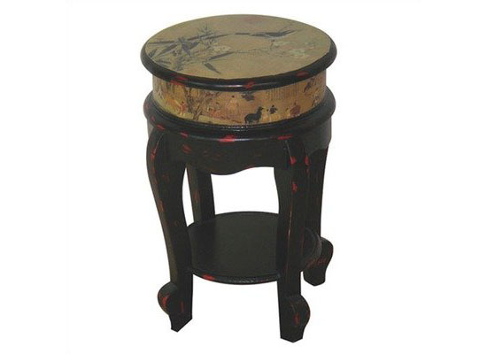 Oriental Furniture Asian Furniture and Decor 18-Inch Ming Design Golden Flower Stool Drink Stand End Table