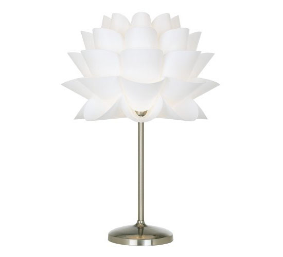 possini euro design white flower acrylic shade table lamp - Possini Euro Design
