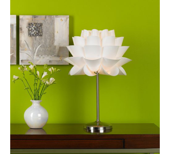 Possini Euro Design White Flower Acrylic Shade Table Lamp