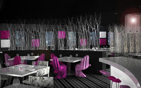 purple cafe interior design