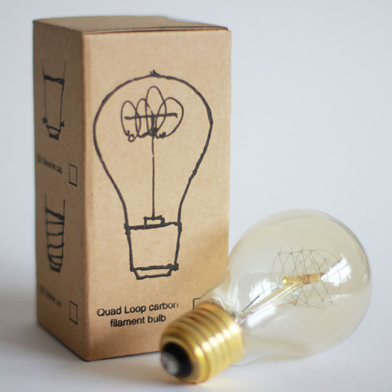 Quad Loop Carbon Filament Light Bulb
