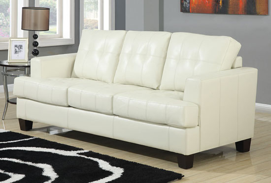 Samuel Collection Cream Leather Sofa By Coaster Home ...
